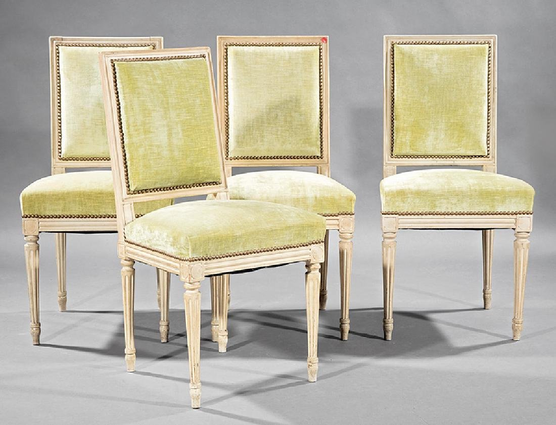 Four Louis XVI-Style Creme Peinte Side Chairs