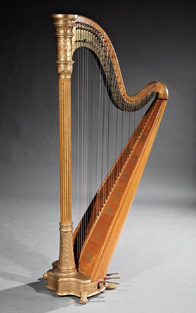 Lyon & Healz Satinwood and Gilt Harp
