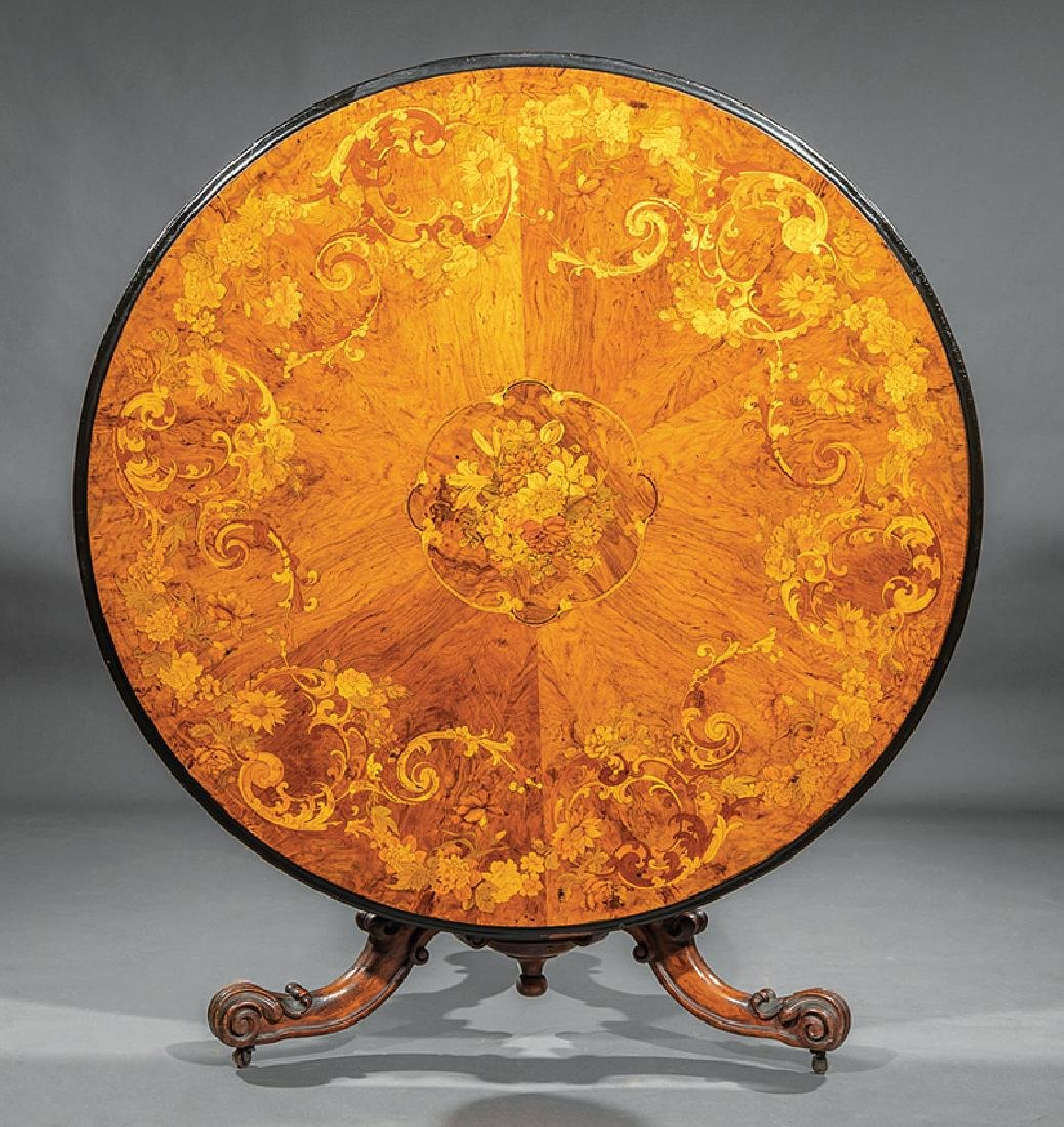 English Marquetry and Carved Walnut Center Table - 2