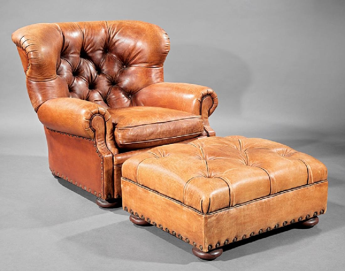Brown Leather Club Chair and Ottoman, Ralph Lauren