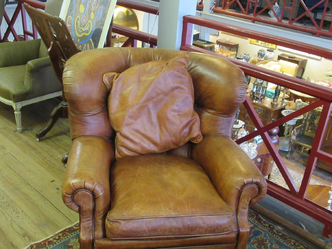 Brown Leather Club Chair and Ottoman, Ralph Lauren - 5