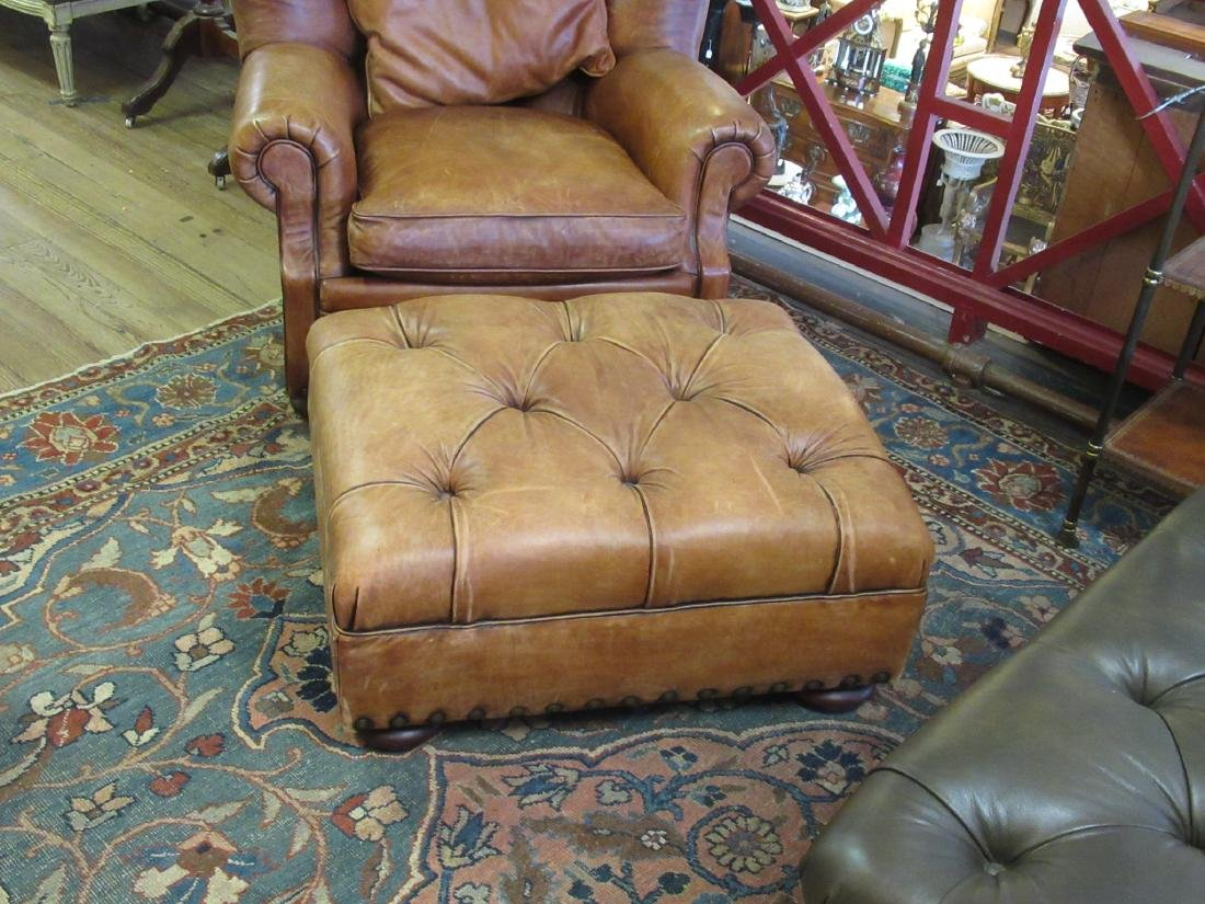 Brown Leather Club Chair and Ottoman, Ralph Lauren - 6