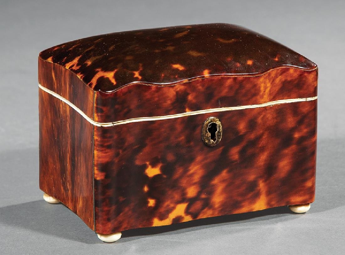 Mother-of-Pearl Inlaid Tortoiseshell Tea Caddy