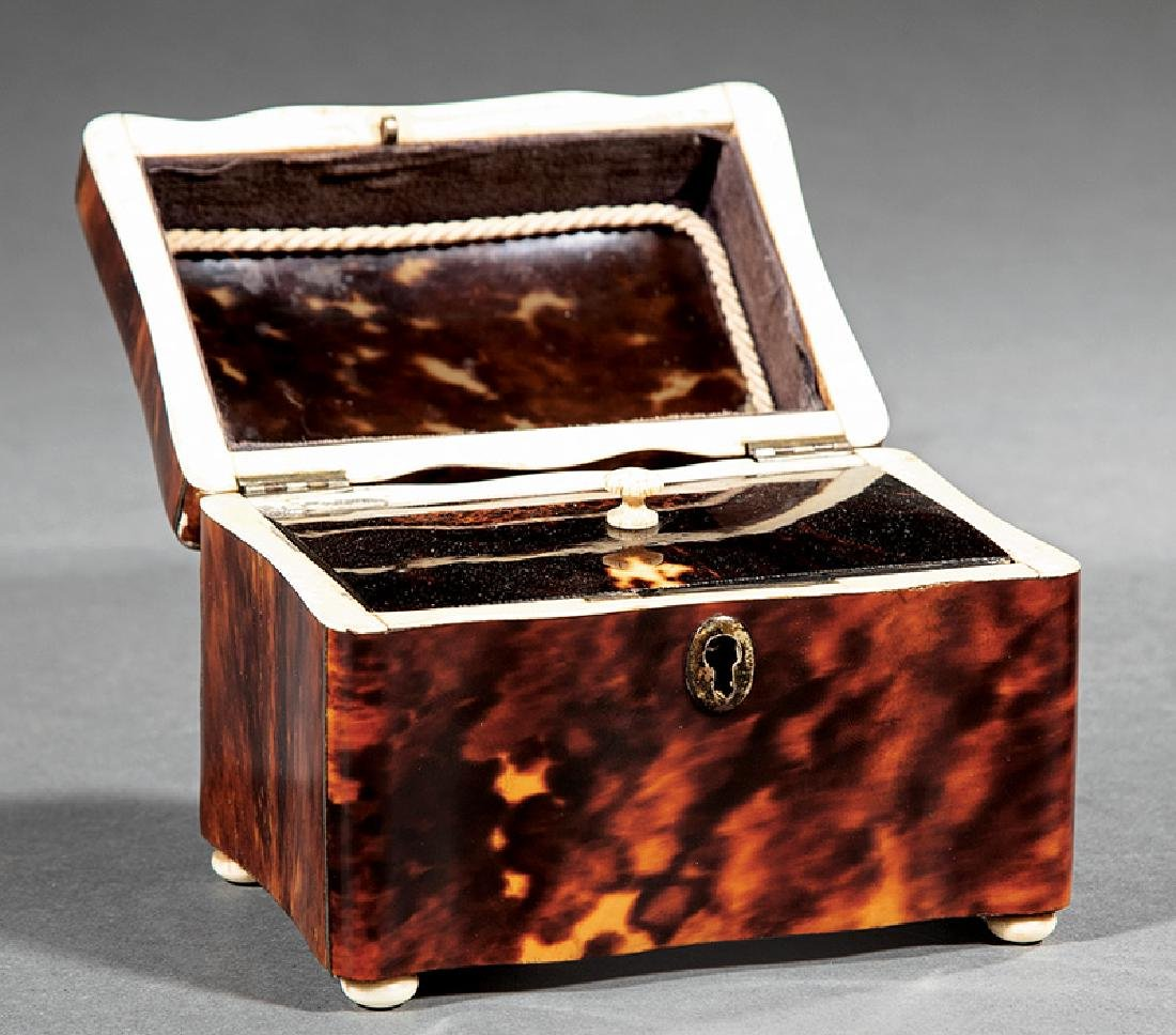 Mother-of-Pearl Inlaid Tortoiseshell Tea Caddy - 2