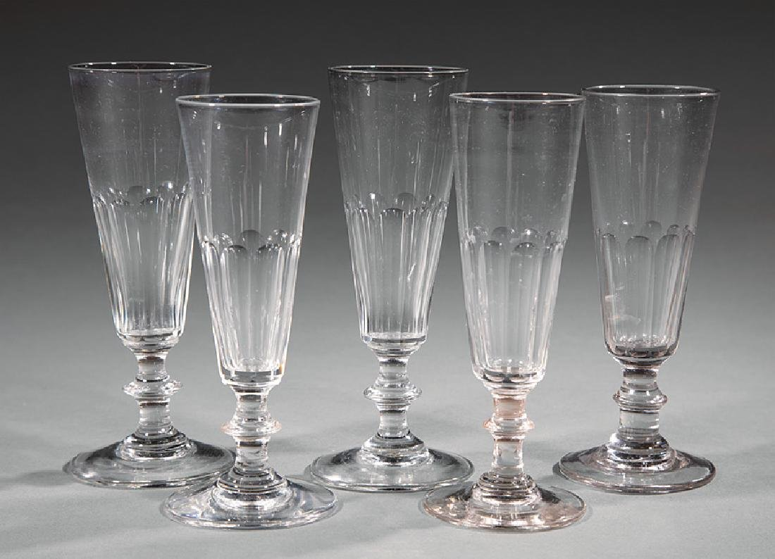 Twelve Charles X-Style Panel Cut Champagne Flutes