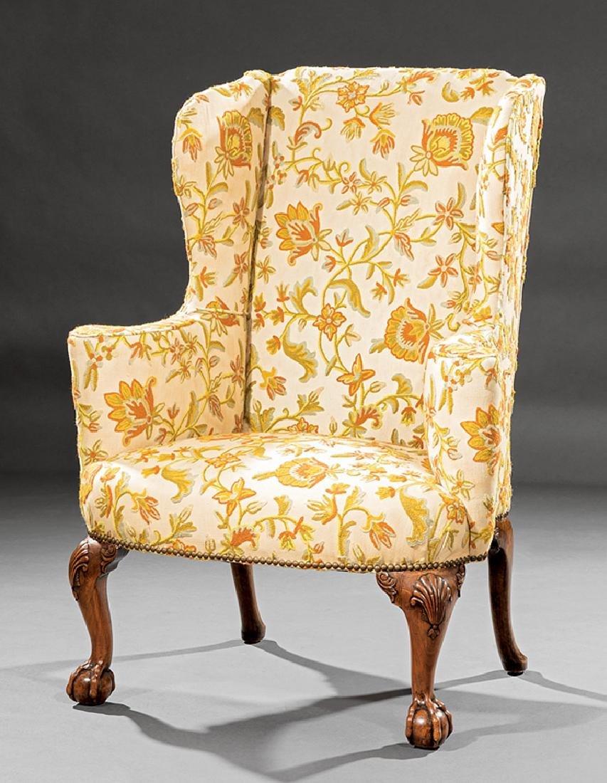 George II Carved Walnut Wingchair