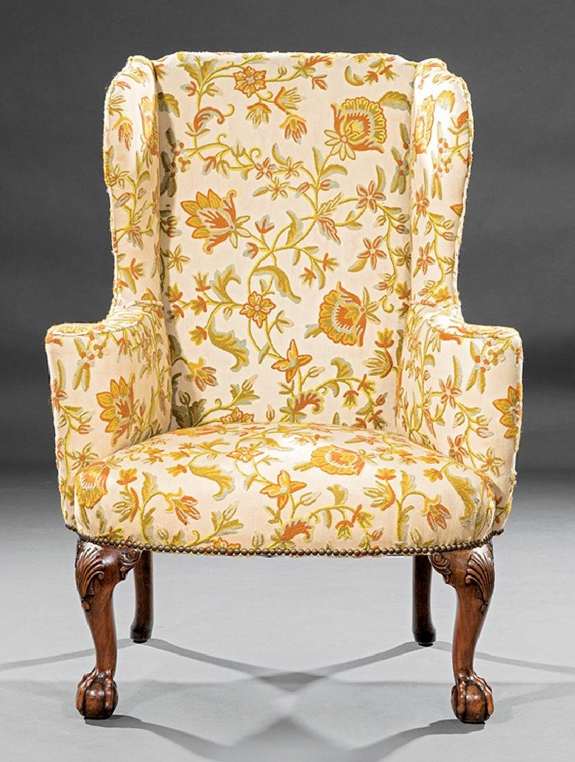 George II Carved Walnut Wingchair - 2