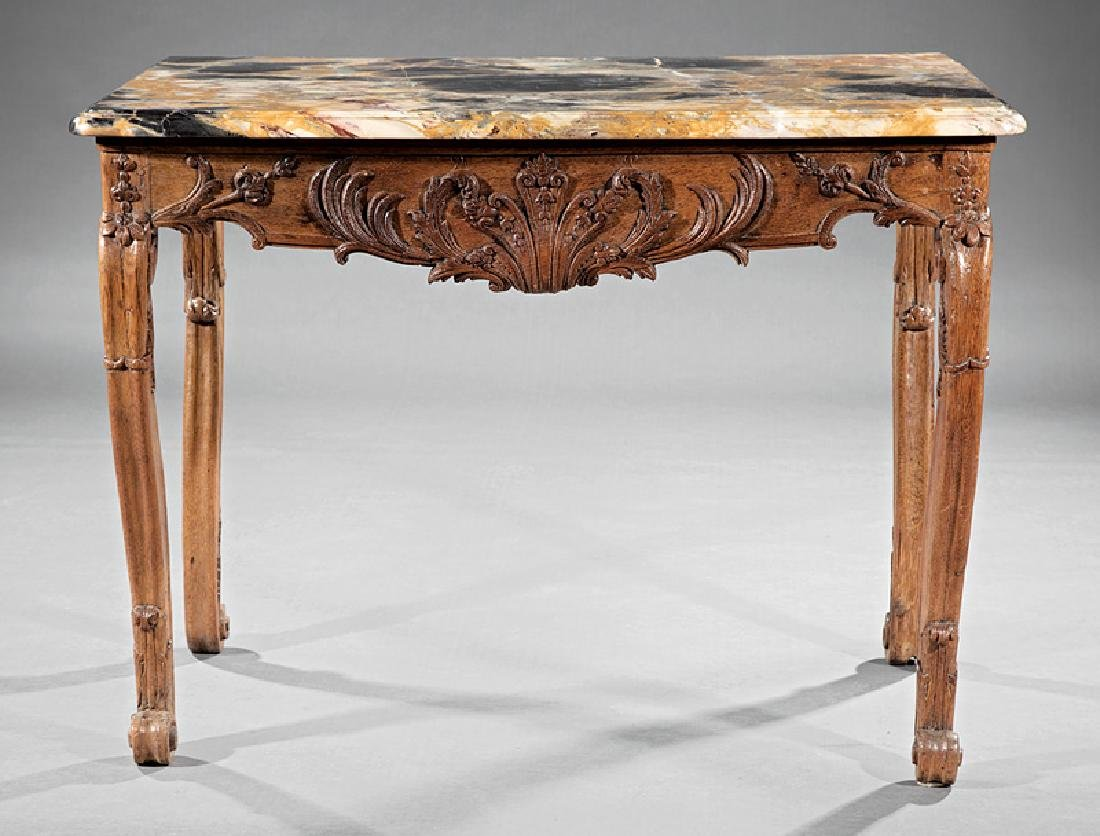 Provincial Carved Oak Console Table - 2