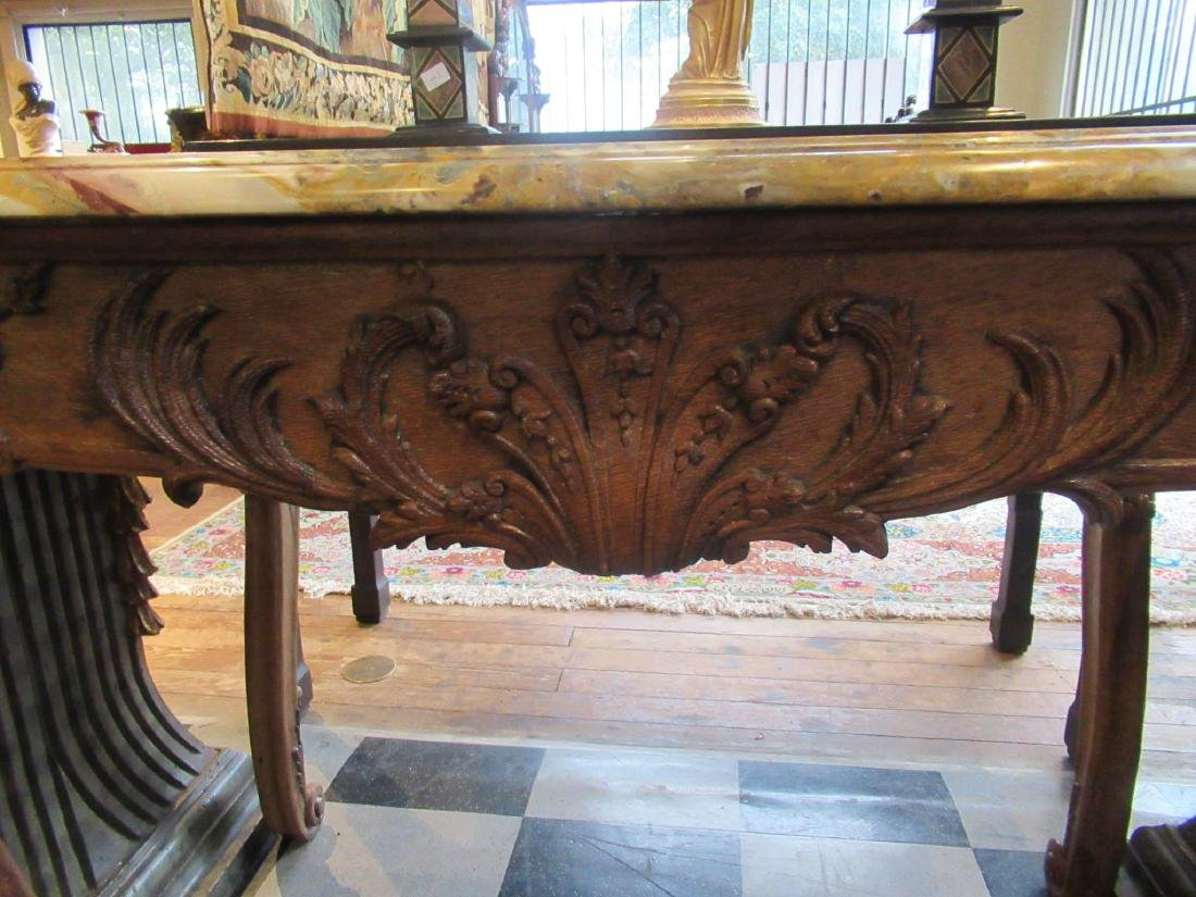Provincial Carved Oak Console Table - 4