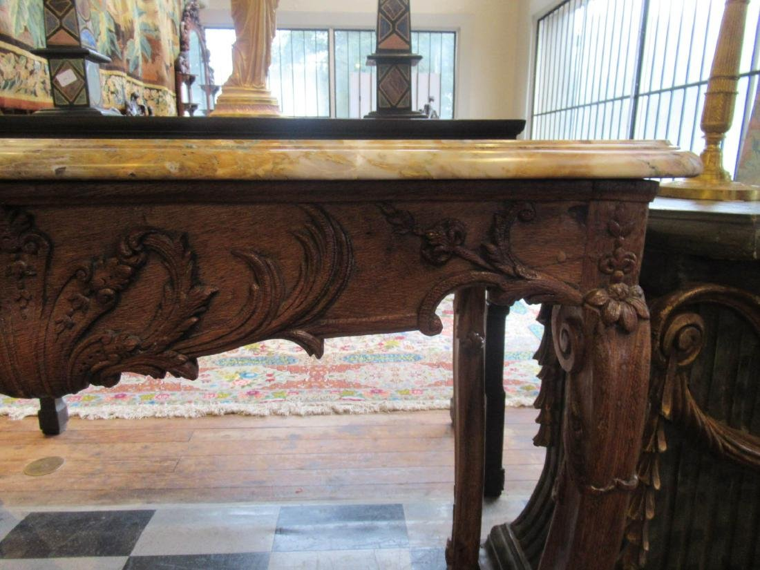 Provincial Carved Oak Console Table - 5