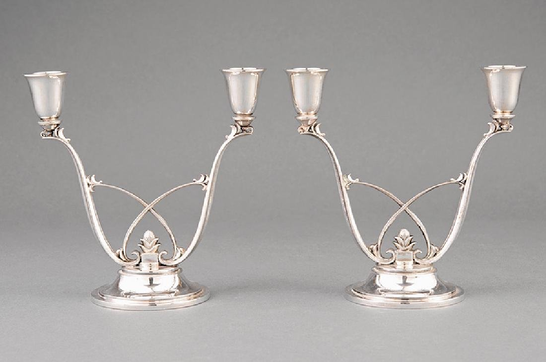 Pair of Georg Jensen Sterling Silver Candelabra