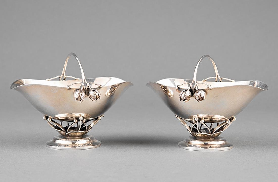 Pair of Georg Jensen Sterling Silver Sugar Baskets