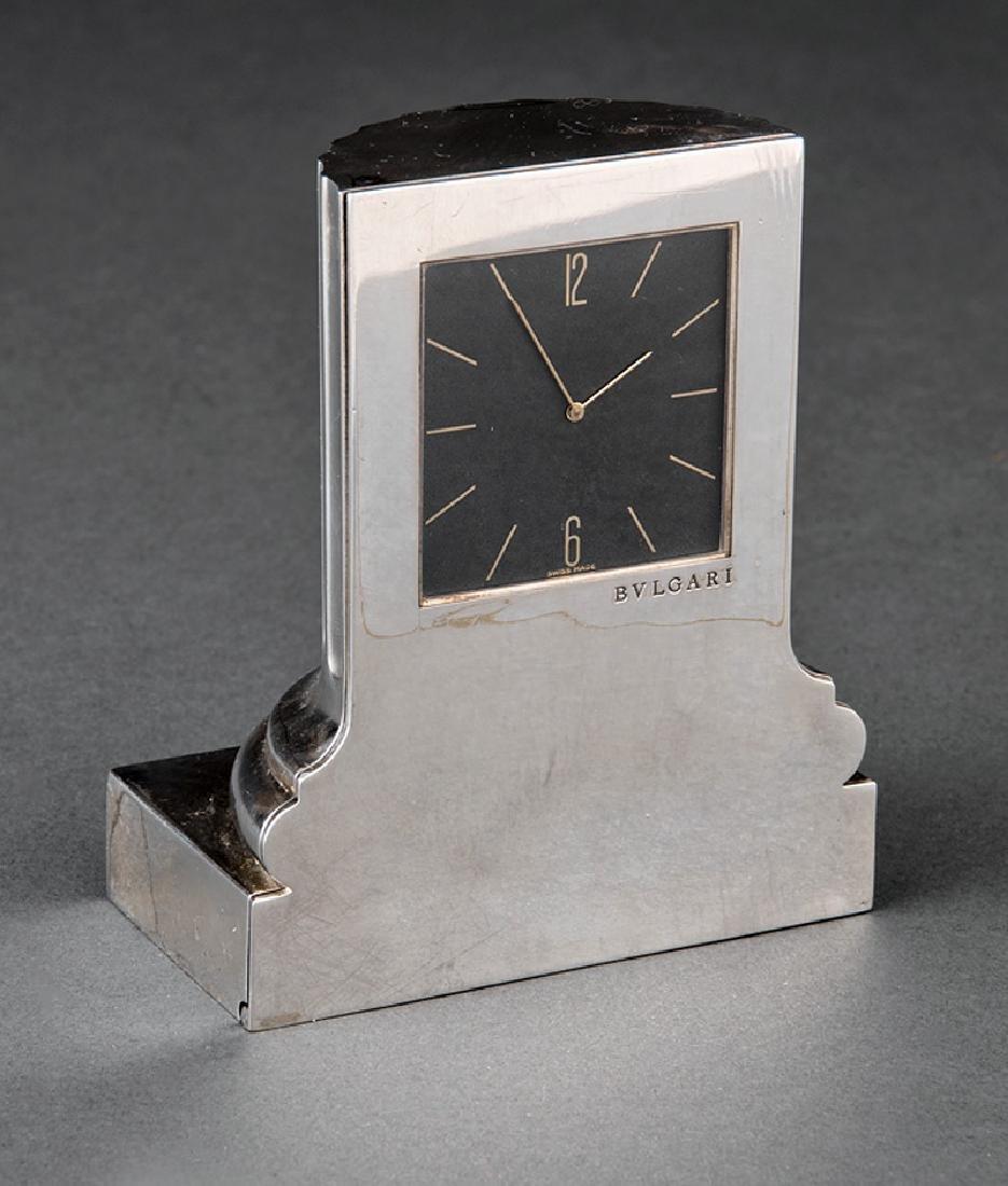 Bulgari Sterling Silver Column Desk Clock