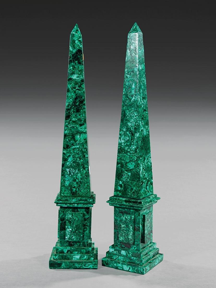 Pair of Neoclassical-Style Malachite Obelisks