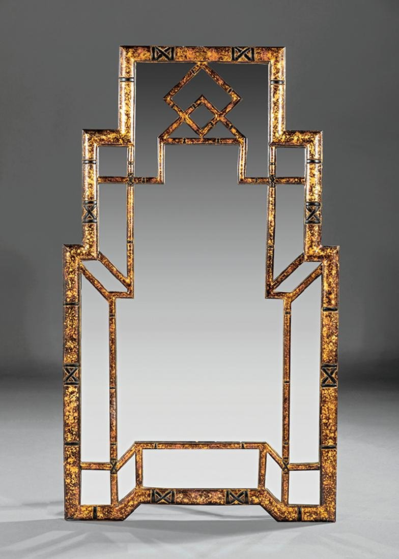 Chinese Chippendale-Style Gilt and Painted Mirror