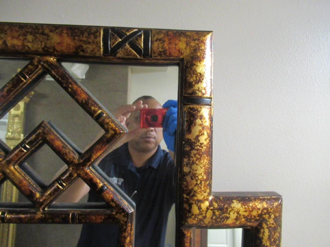 Chinese Chippendale-Style Gilt and Painted Mirror - 4