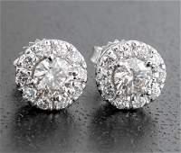 18 kt. White Gold and Diamond Cluster Stud Earrings
