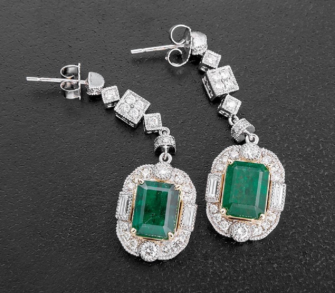 Gold, Platinum, Emerald, Diamond Cluster Earrings