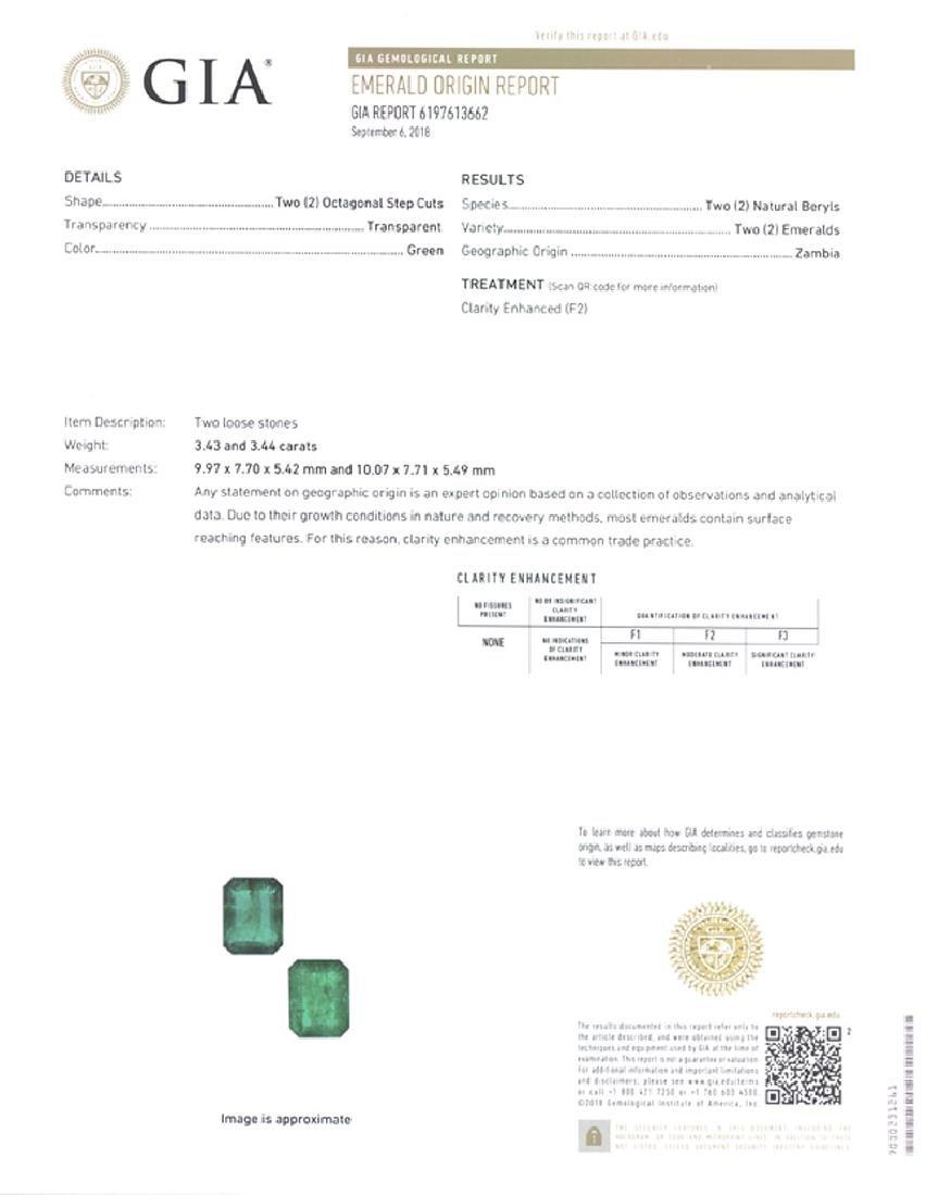Gold, Platinum, Emerald, Diamond Cluster Earrings - 2