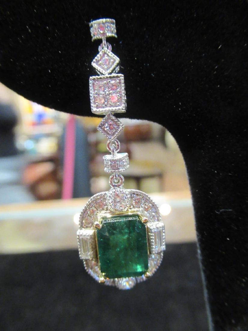 Gold, Platinum, Emerald, Diamond Cluster Earrings - 3