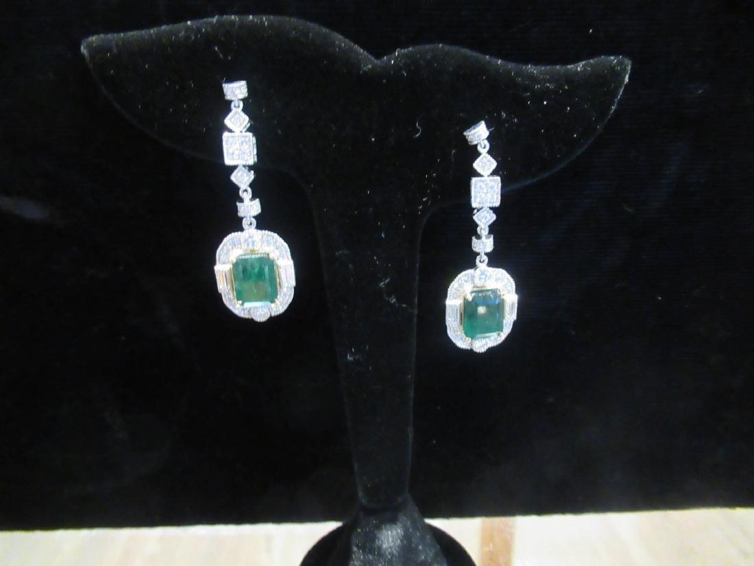 Gold, Platinum, Emerald, Diamond Cluster Earrings - 4