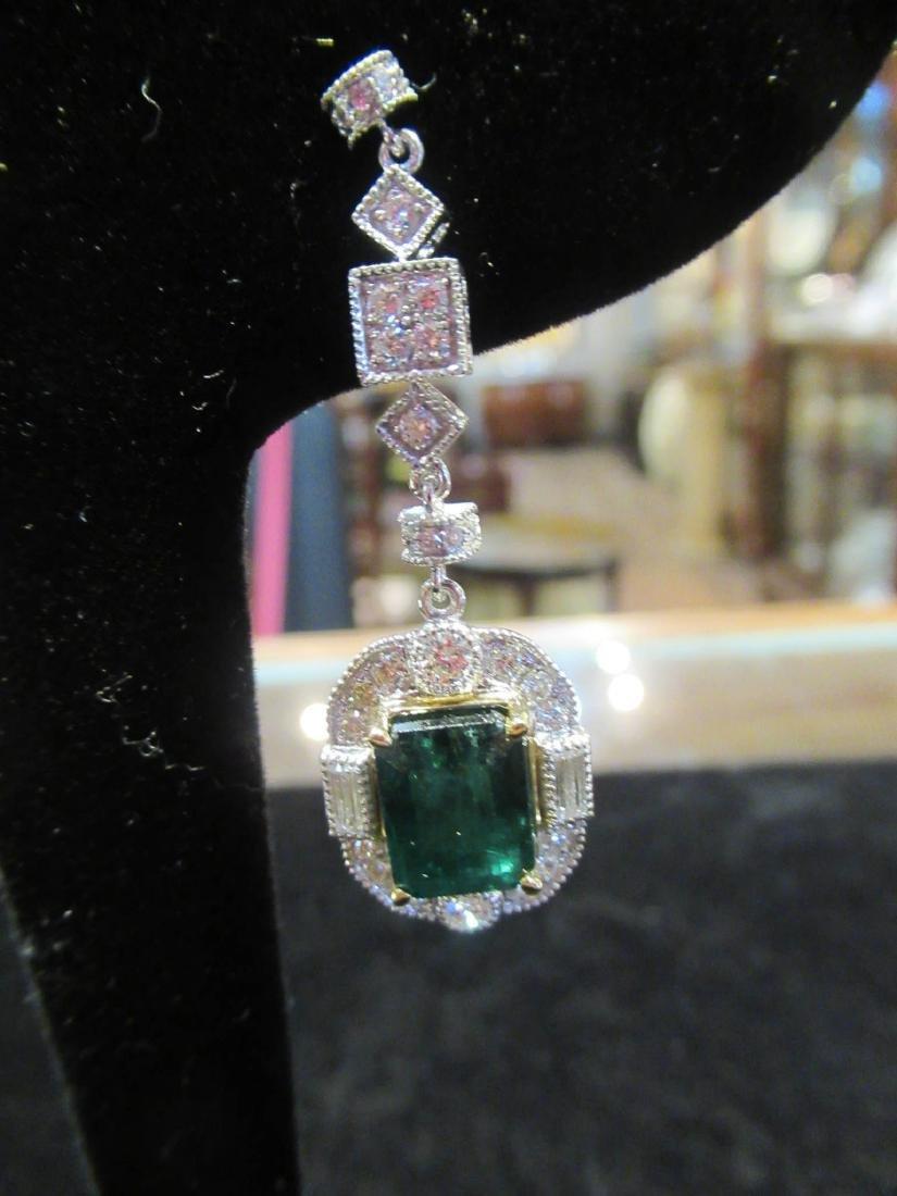 Gold, Platinum, Emerald, Diamond Cluster Earrings - 5