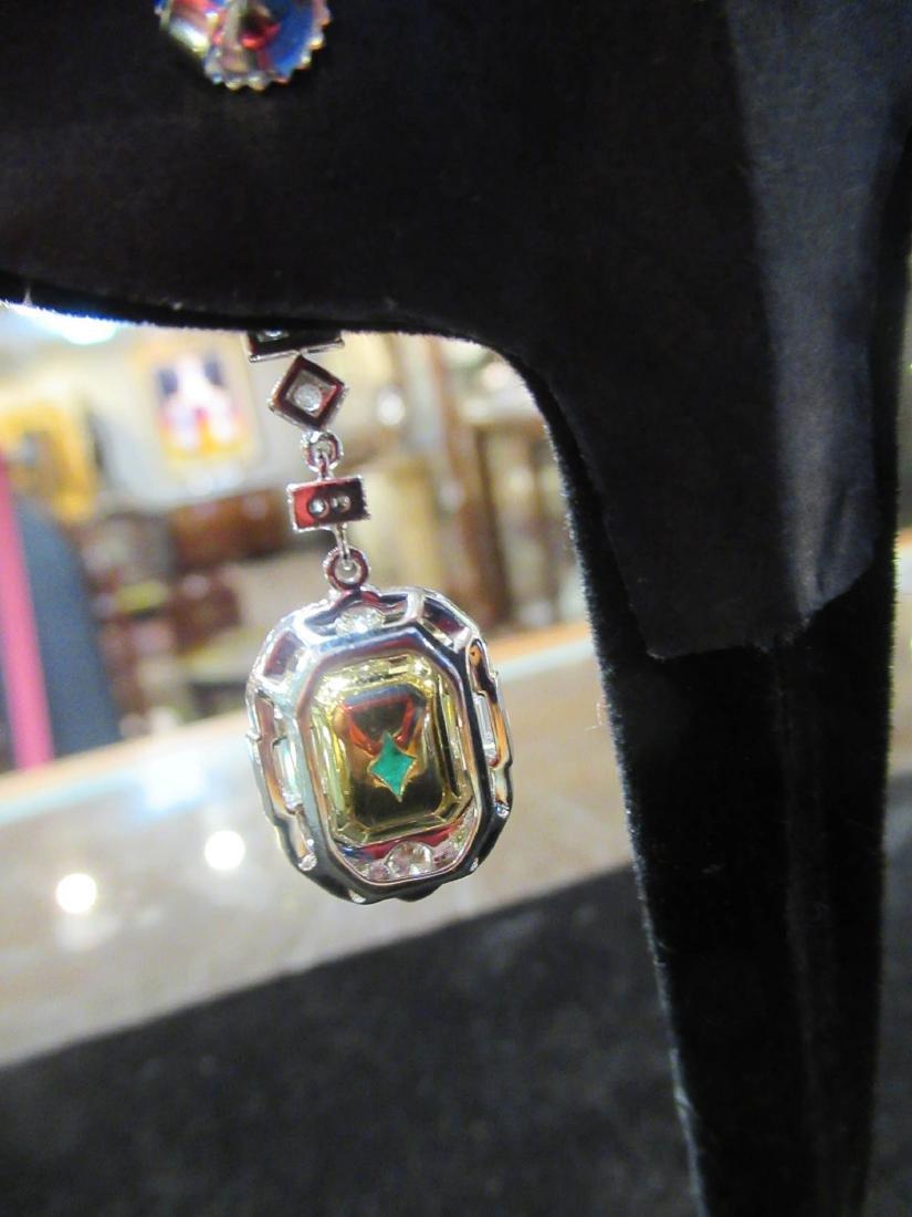 Gold, Platinum, Emerald, Diamond Cluster Earrings - 6