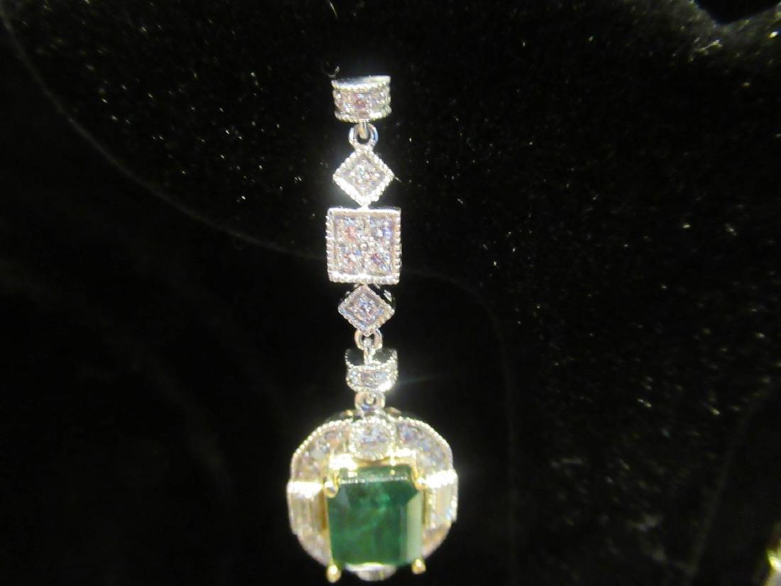 Gold, Platinum, Emerald, Diamond Cluster Earrings - 7