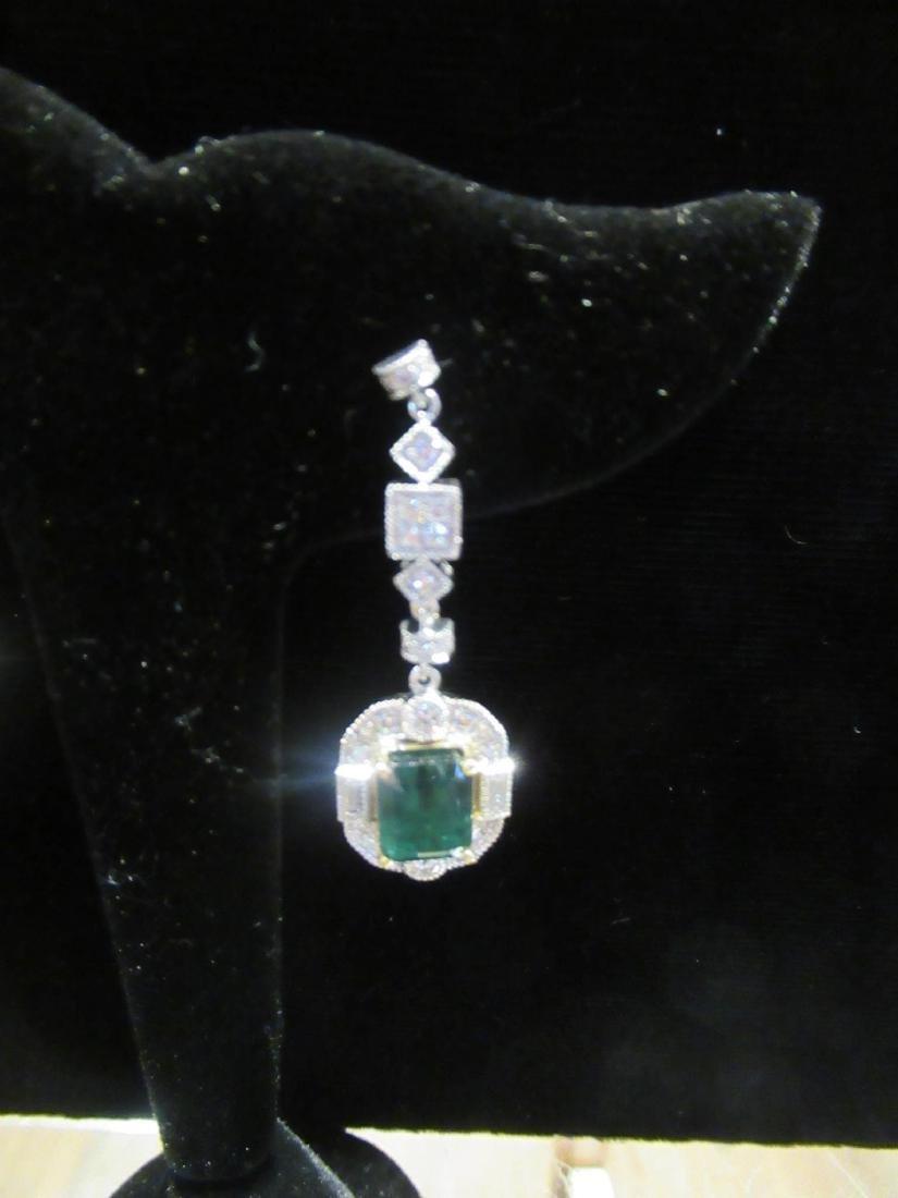 Gold, Platinum, Emerald, Diamond Cluster Earrings - 8