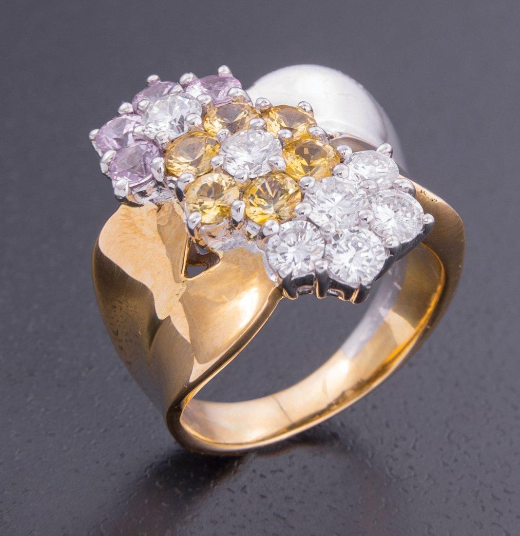 Gold, Platinum, Yellow Sapphire, Diamond Ring