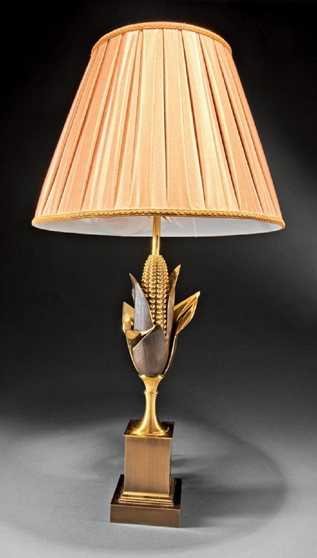 French Gilt and Patinated Brass Cornstalk Table Lamp