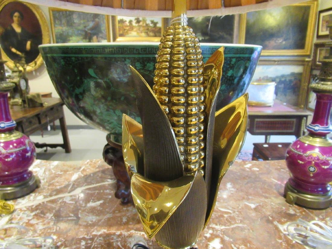 French Gilt and Patinated Brass Cornstalk Table Lamp - 3