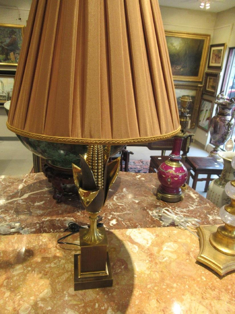 French Gilt and Patinated Brass Cornstalk Table Lamp - 6
