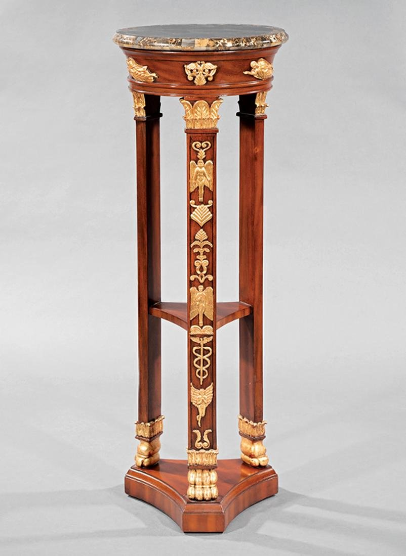 Empire-Style Gilt-Decorated Mahogany Gueridon