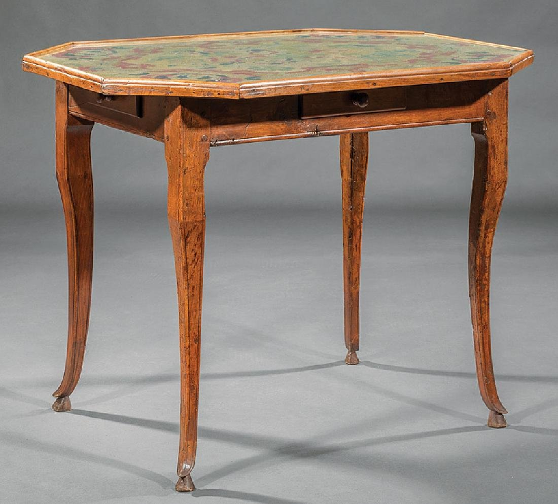 French Provincial Walnut and Needlework Table