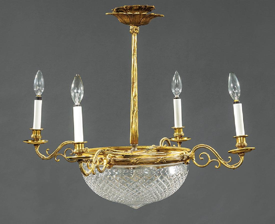 French Bronze and Cut Glass Four-Light Chandelier