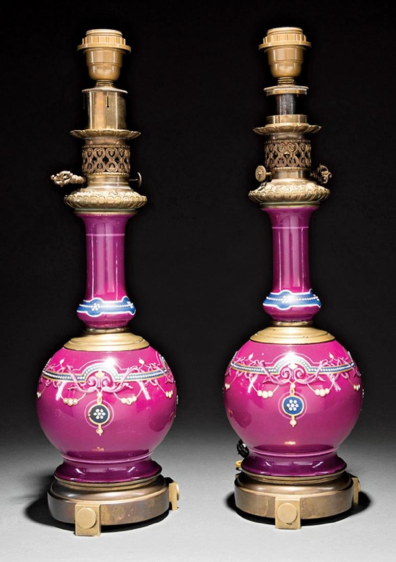 Pair of Napoleon III Enameled Porcelain Lamps