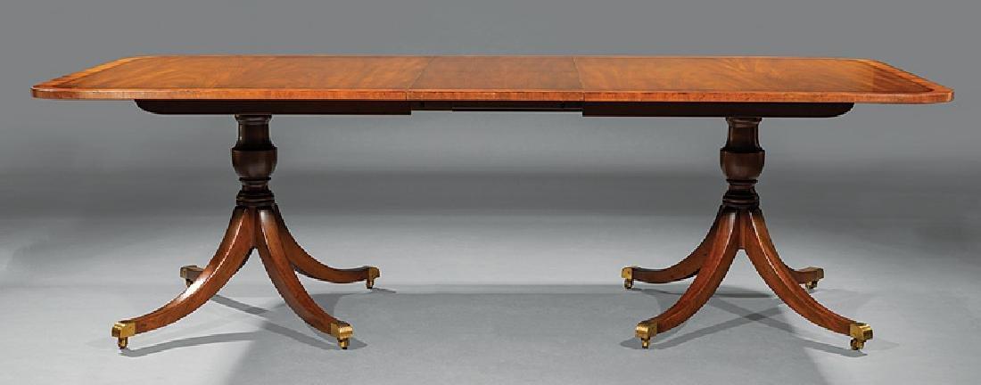 Regency-Style Inlaid Mahogany Two Pedestal Dining Tabl - 2