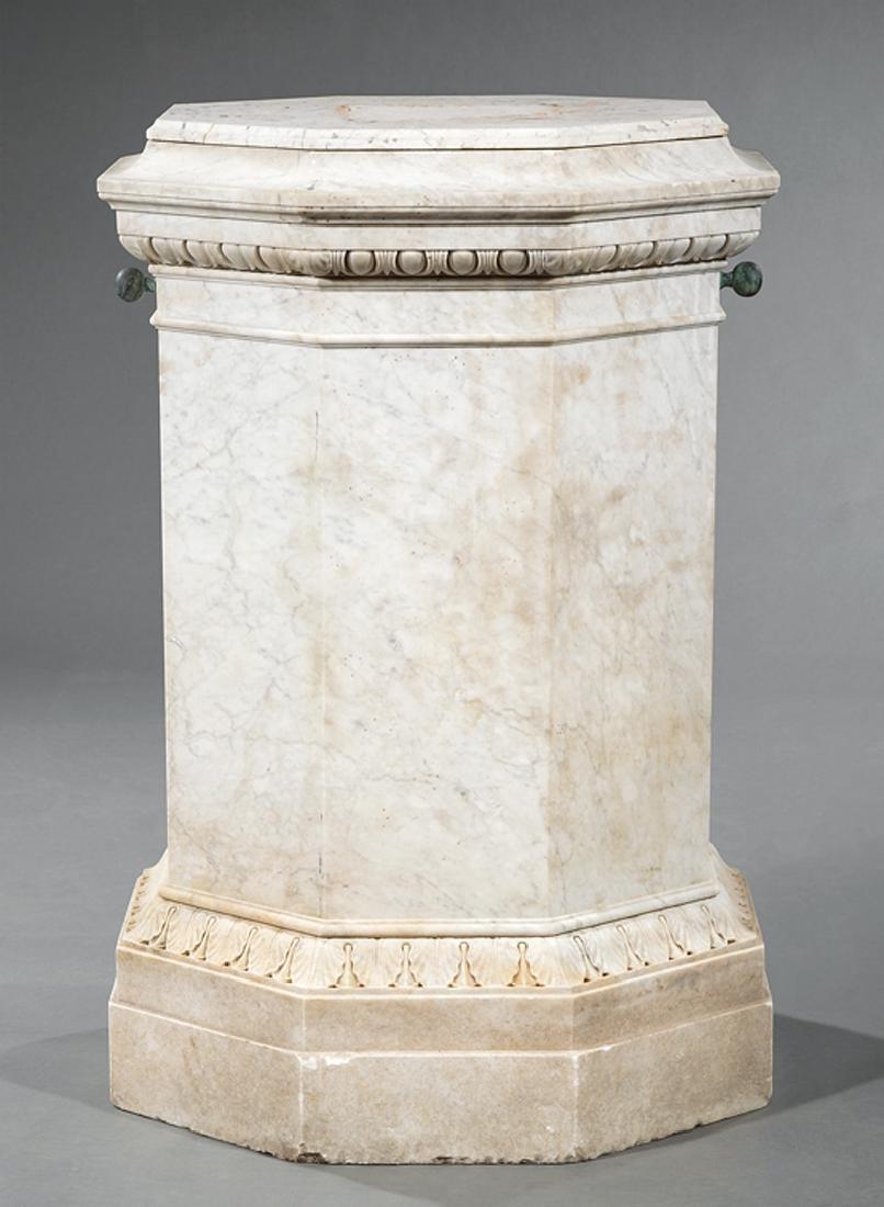 Italian Carved Carrara Marble Statuary Pedestal