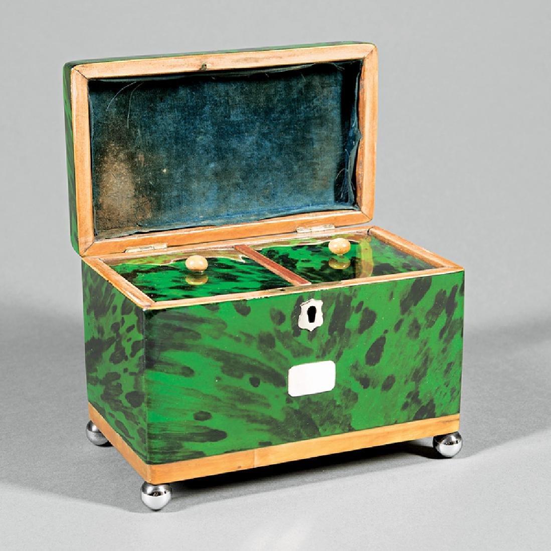 George III Green Tortoiseshell Tea Caddy - 2