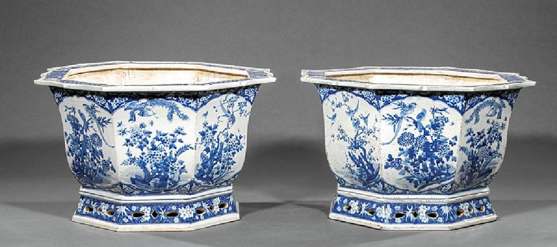 Pair of Chinese Blue and White Porcelain Jardinieres