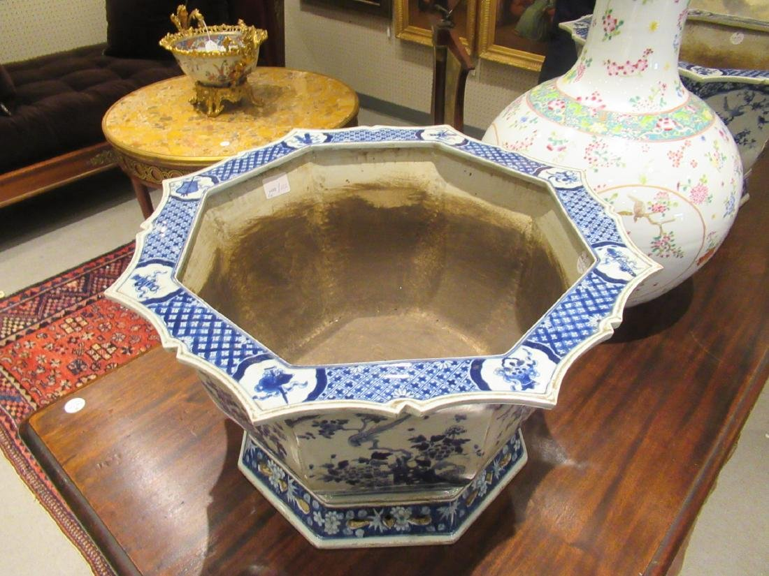 Pair of Chinese Blue and White Porcelain Jardinieres - 2