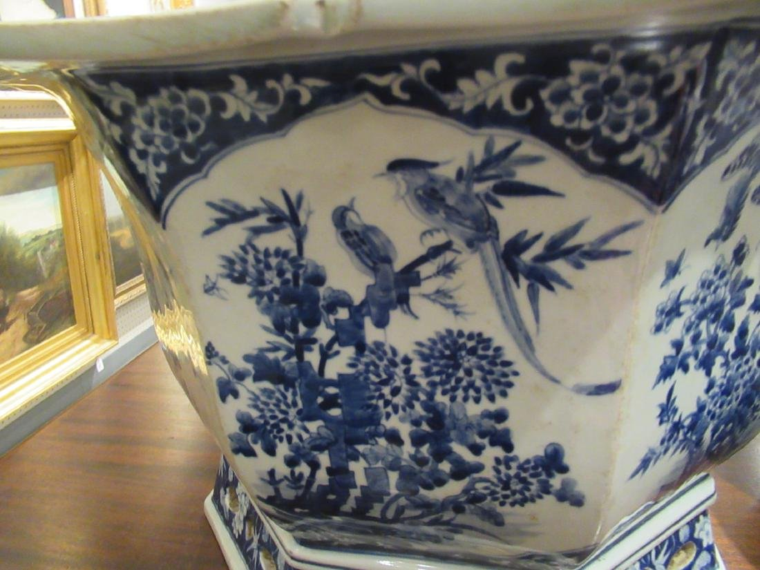Pair of Chinese Blue and White Porcelain Jardinieres - 4