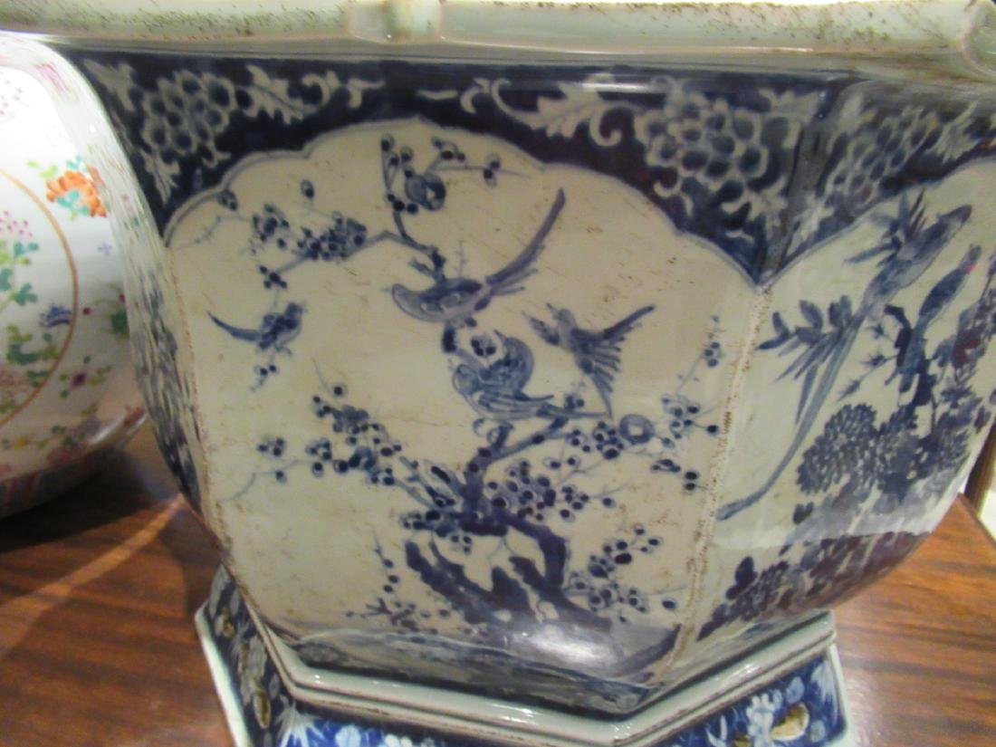 Pair of Chinese Blue and White Porcelain Jardinieres - 6
