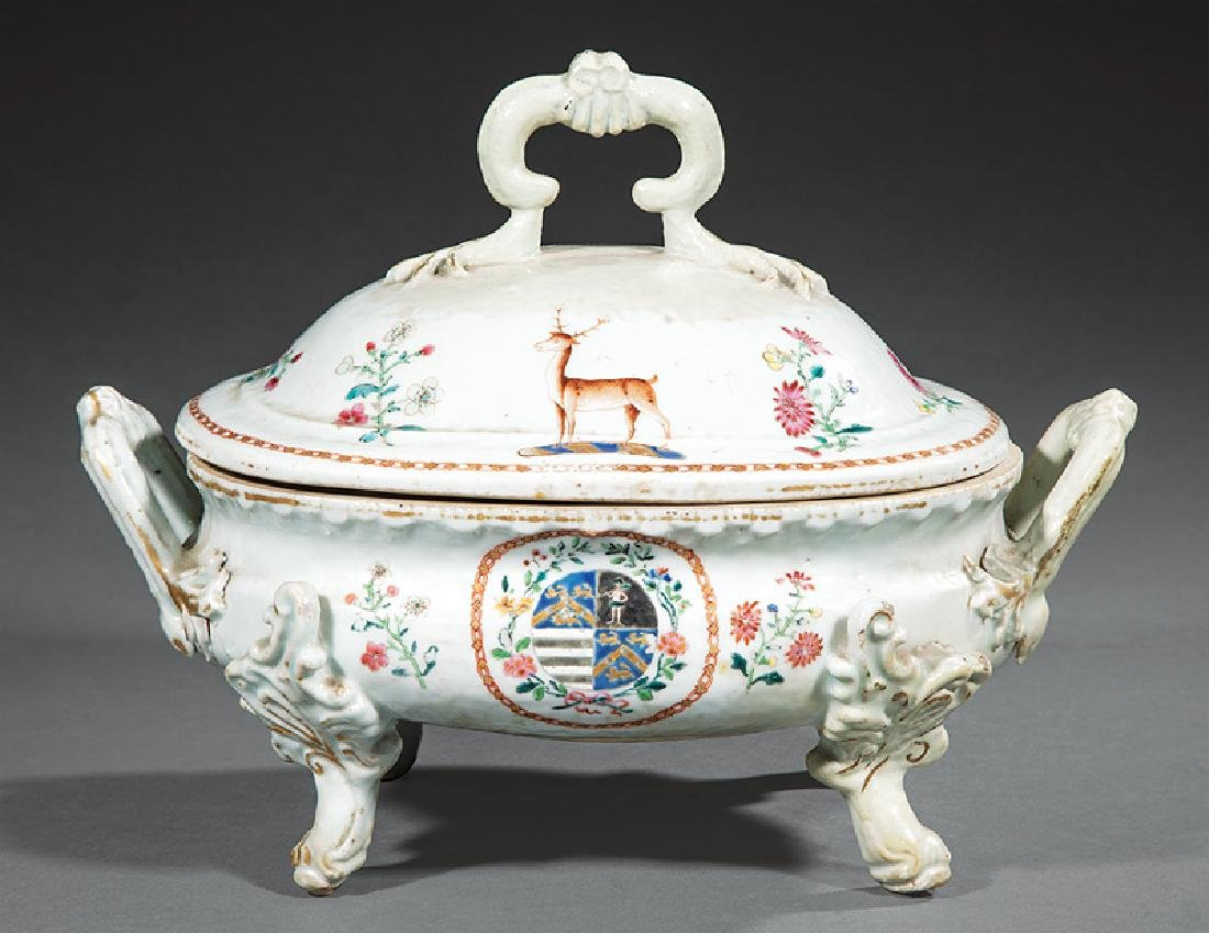 Chinese Export Armorial Porcelain Covered Soup Tureen