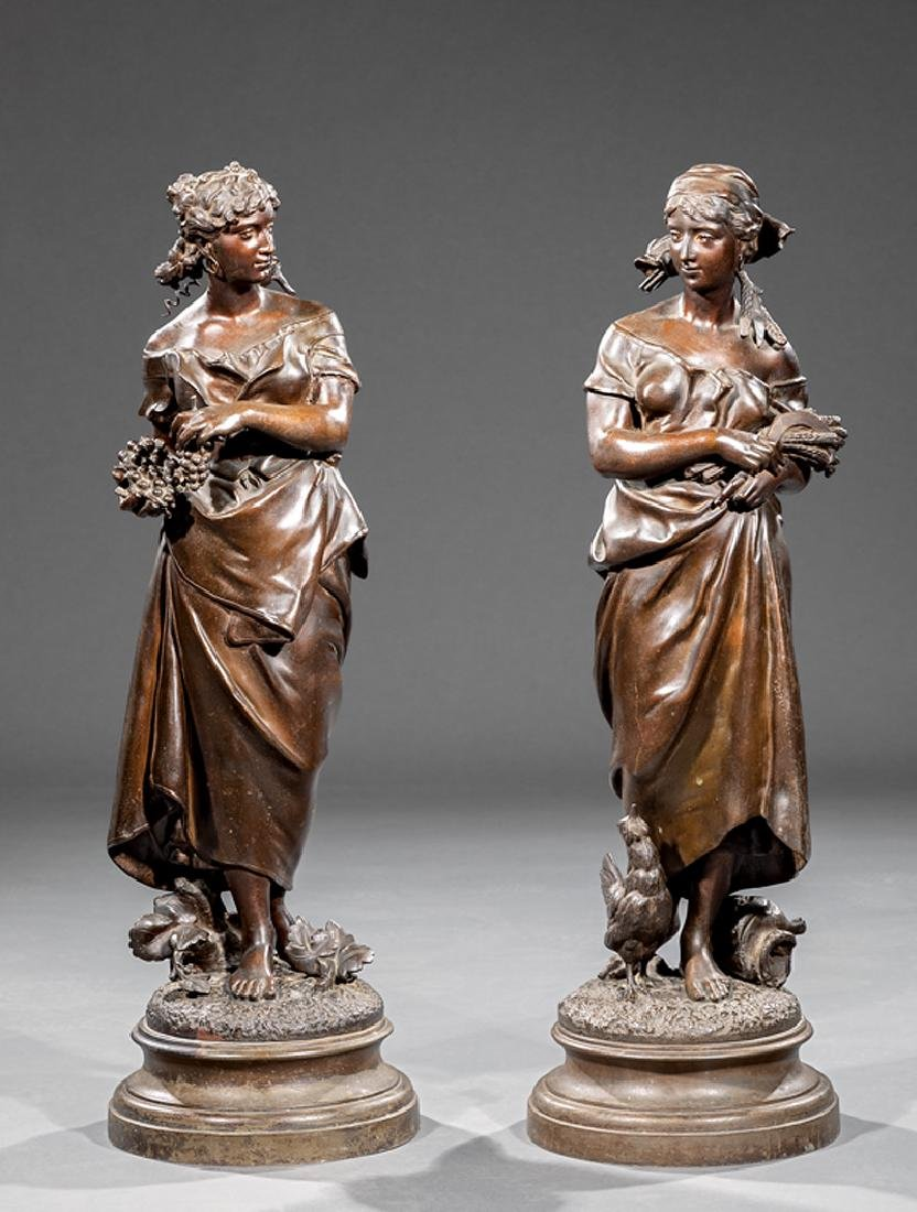 Pair of French Patinated Metal Figures of Maidens