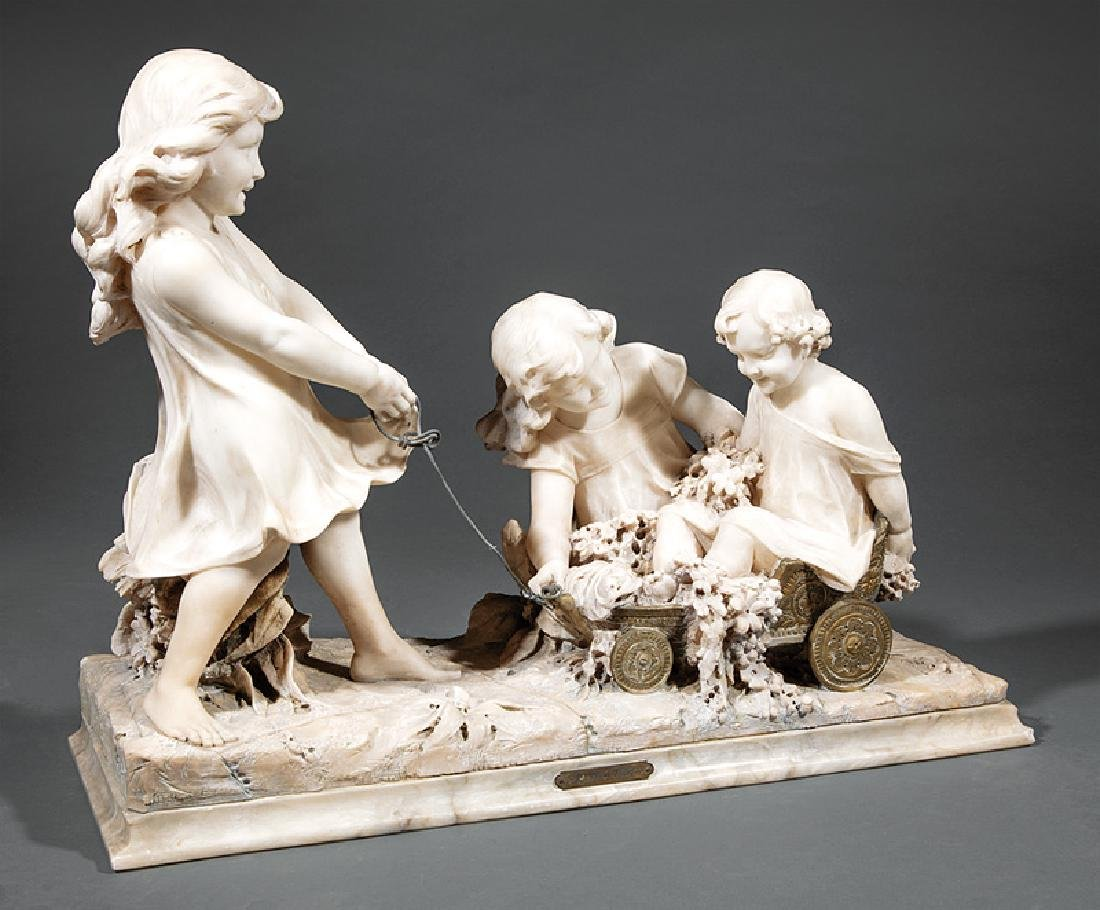 Carved Carrara Marble and Mixed Media Sculpture
