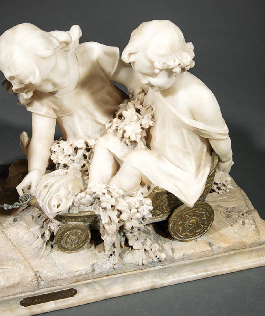 Carved Carrara Marble and Mixed Media Sculpture - 3