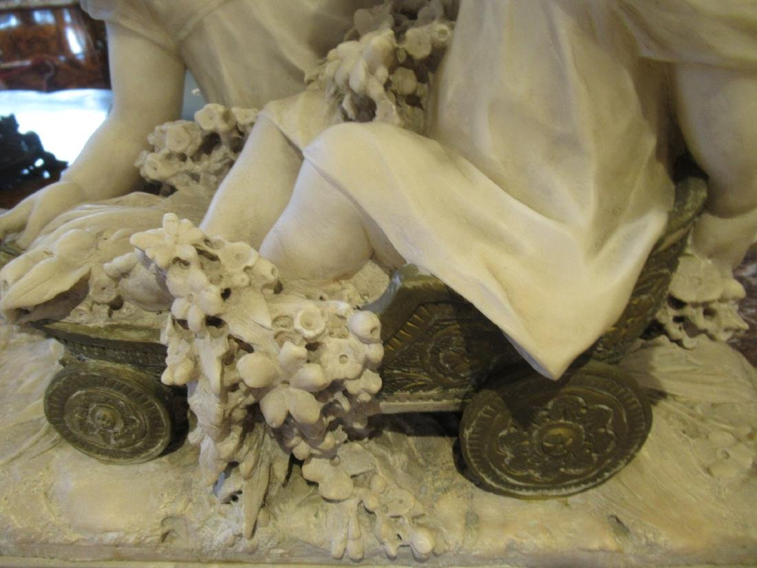 Carved Carrara Marble and Mixed Media Sculpture - 5