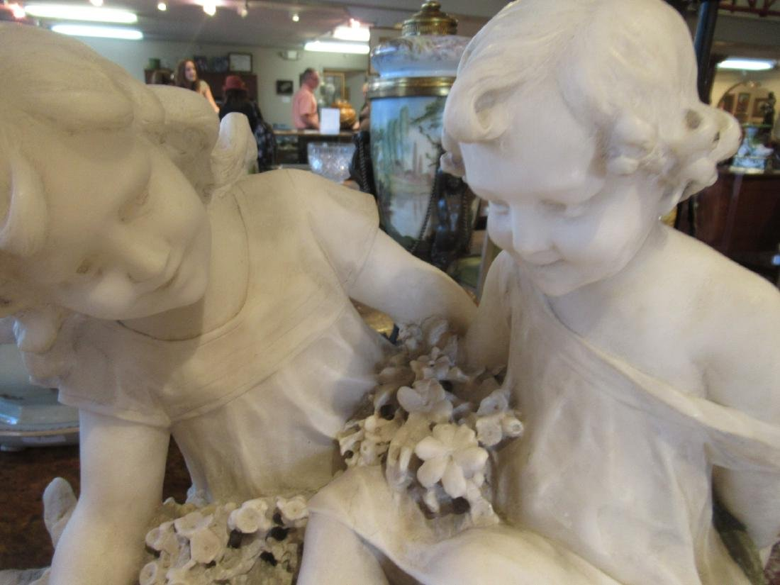 Carved Carrara Marble and Mixed Media Sculpture - 6